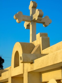 Photo: Paul Perry, A typical Coptic cross, directed to the four corners of the earth at St. George Church in al-Qantara.