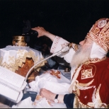 Pope Shenouda in full liturgical robes.
