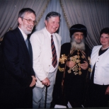 Pope Shenouda with Professor & Mrs Otto Meinardus and Drs Cornelis Hulsman