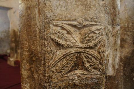 Photo: Shangyun Shen, a cross marked on the the column.
