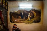 Photo: Shangyun Shen, a painting of the Flight into Egypt inside the Church of St. Wadamon.