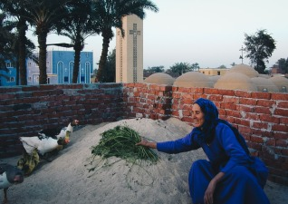 Photo: Paul Perry, a friendly woman feeding her geese. She welcomed us in her house to take photos from the roof. At the back we see the 12 domes of the Church of St. George, at Ishnin al-Nasara, and its guesthouse.