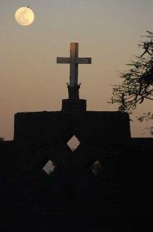 Photo: Norbert Schiller, a cross over the entrance of Dayr Abu Sarabam.