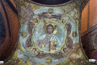 Photo: Coptic Museum, inside the sanctuaries painted baldachins are placed above the altars.