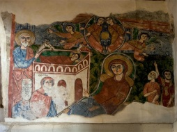 Photo: Coptic Museum, fresco showing the birth of Christ.